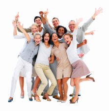 Excited group of business people-isolated