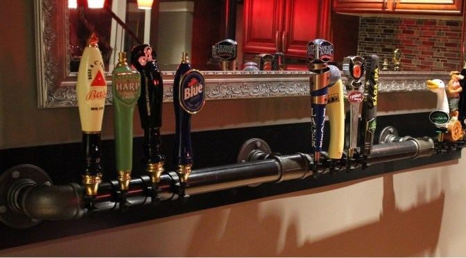 Beer tap handle display for DIY home bar