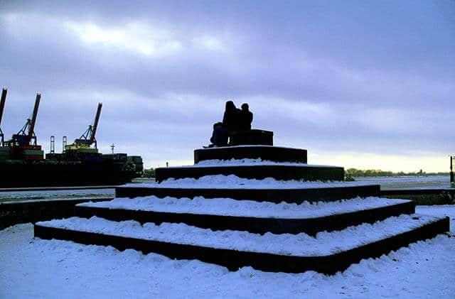 Winterliche Elbe bei Övelgönne/Neumühlen