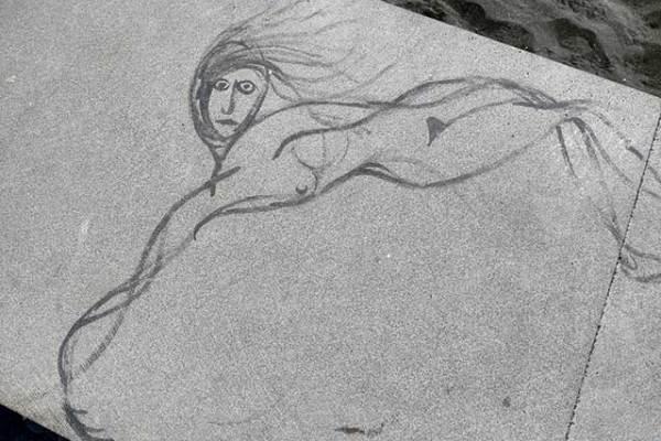 Leistungsschutzrecht: Zeichnung auf Strandmauer