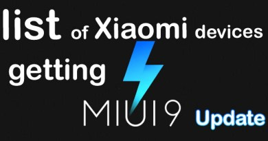 List of Xiaomi devices getting MiUi 9