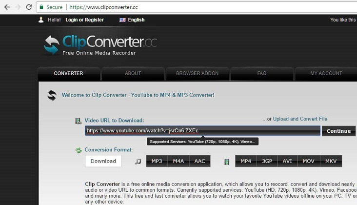Clipconverter is yet another popular online tool to download YouTube video in different format