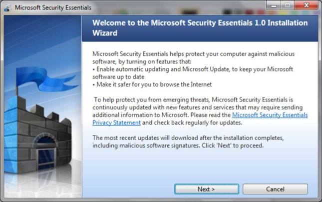 Microsoft Security Essential was however, free to use but was required to download separately the latest update