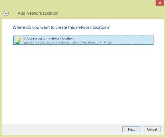 Add network location FTP