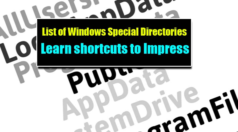 ere is the list of all Windows special directories shortcuts you can use to directly access the default folder for Windows. Type these short codes in Windows Run dialogue box to access special folders set by Windows environment path variables. Press Win+R to open Windows Run dialogue box.