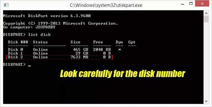 Diskpart select disk to remove write protection