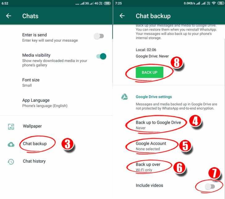 Whatsapp chat backup setting