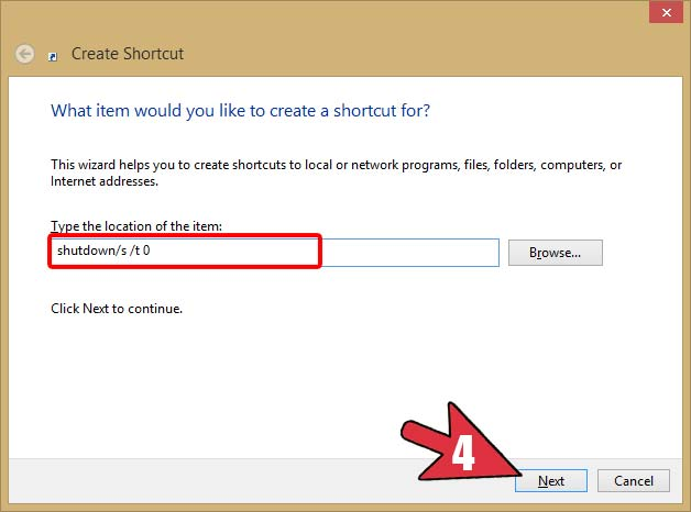 Create Shortcut in Windows for Shutdown and Restart