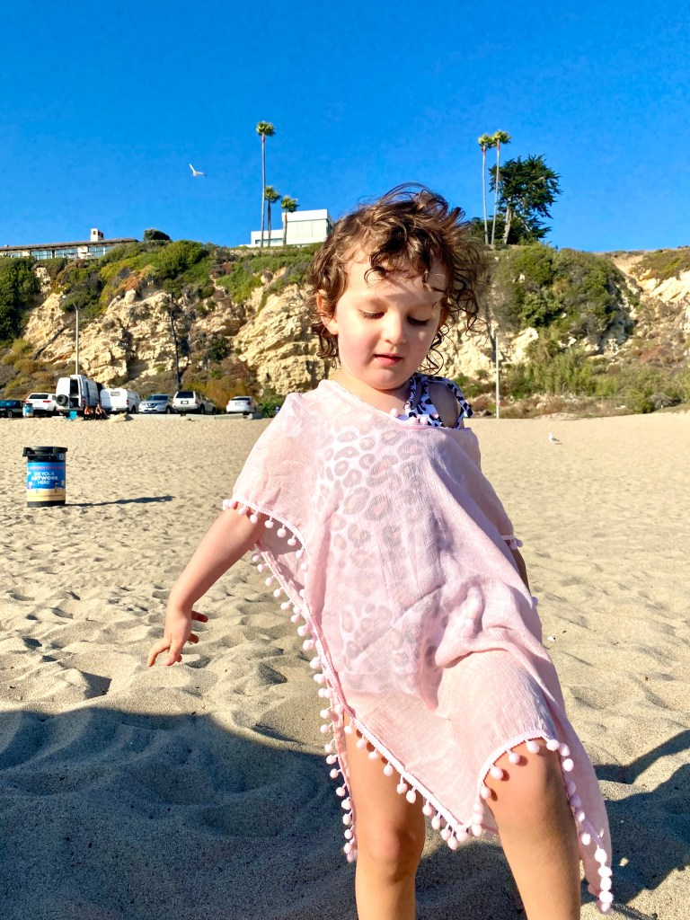 pastel pink beach cover up for toddler