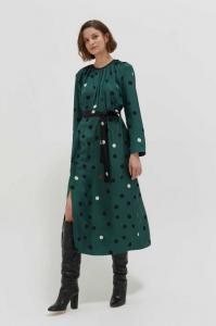 Chinti and Parker Grren painted Spot Silk Dress