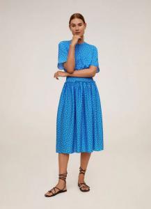 Mango Polka Dot Gathered Waist Dress