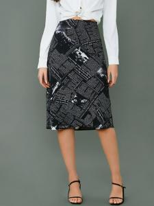 Shein Newspaper print skirt