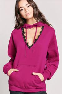 Cutout Lace-Trim Fleece Hoodie; Forever21, $11