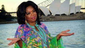 Oprah wearing a Moroccan Caftan