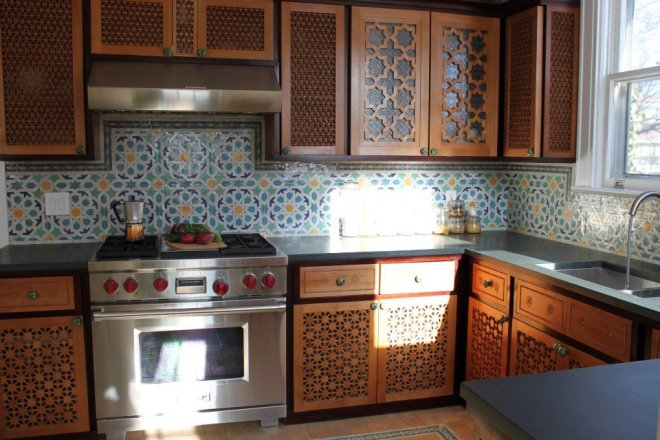 Moroccan Kitchen with beautiful hand carved wood cabinets