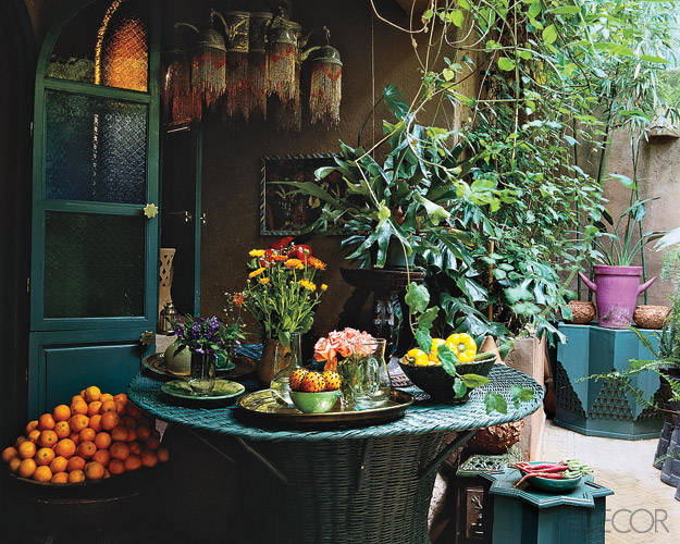 A beautiful moroccan chandelier is used in Liza Bruce's Moroccan Home. Photo Credit: Elle Decor