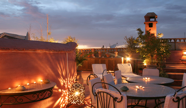 Moroccan outdoor lighting. Photo: Riad Maryam Terrasse.