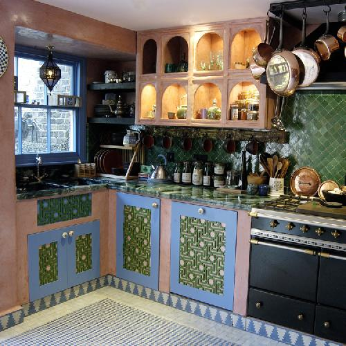 Moroccan Kitchen with a display of Moroccan Copper Handmade Cookware