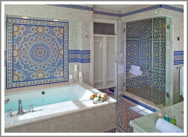 Contemporary Bathroom with Moroccan Tiles