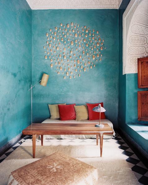 Moroccan Room with blue painted walls, Riad El Fenn, Via Lonny