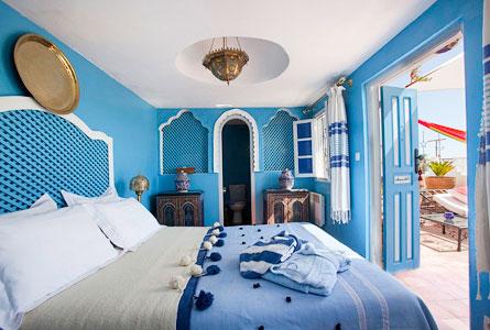 Blue Moroccan Bedroom, Riad Dar Sultan, Tangiers, Morocco