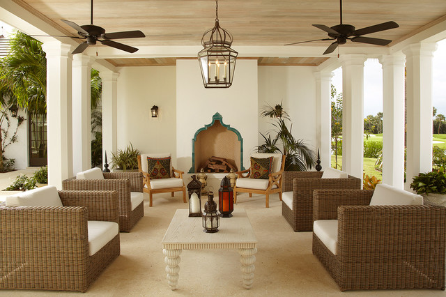 Morocccan Outdoor Fireplace with a Curved Shape, Photo Source: Houzz.com