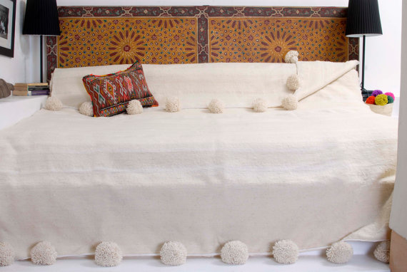 Northern Style Moroccan Bedding with Pom Pom