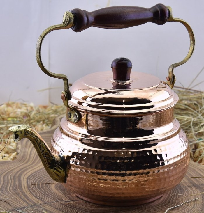 Moroccan hammered copper tea pot kettle