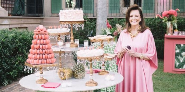 Southern Charm's Patricia Altschul entertaining in a Pink Caftan, Photo Town & Country