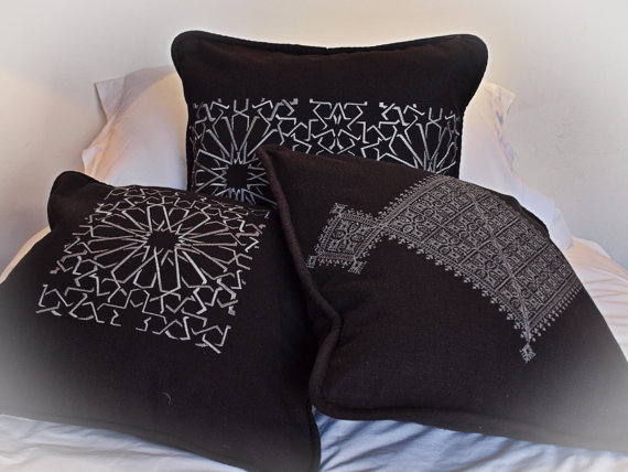 Moroccan embroidered linen cushion covers, Shop this item HERE