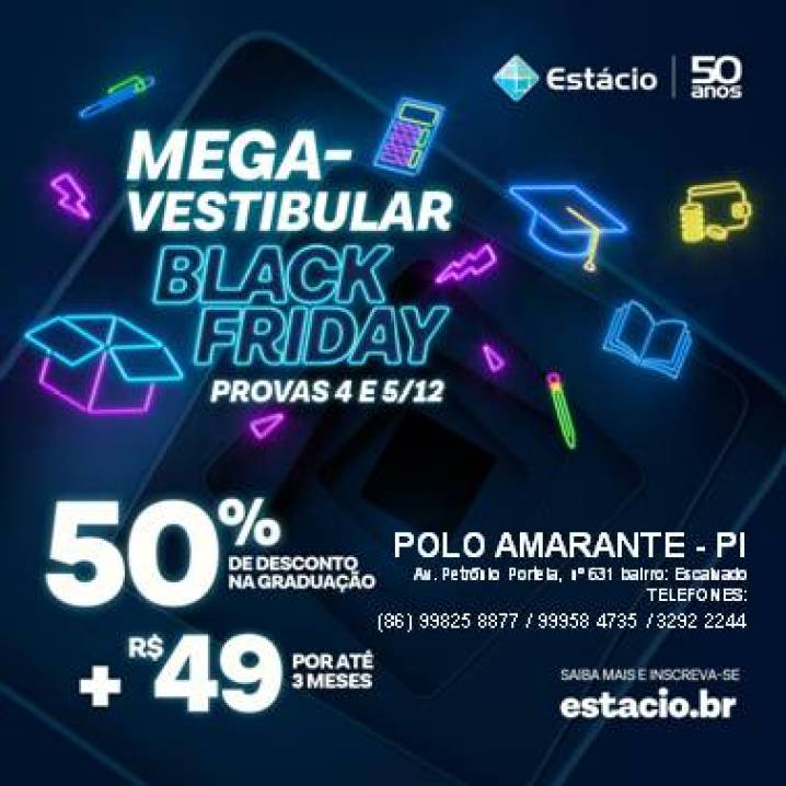 post editavel mega black friday MegaVestibular Black Friday Estácio polo Amarante - PI, dias 04 e 05 de Dezembro