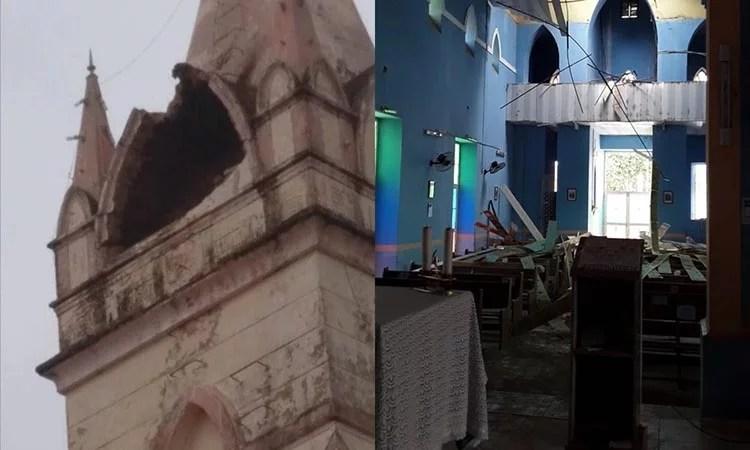 Celebrações estão suspentsas após desabamento do teto da Igreja de São Pedro do Piauí