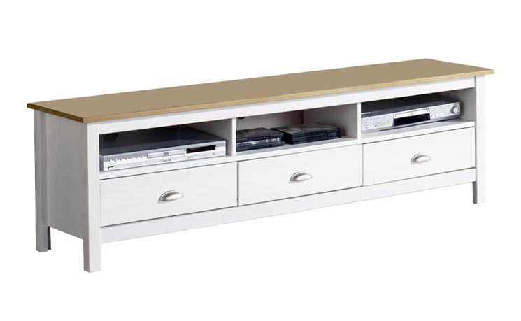 vs meuble tv bora bora 3 tiroirs blanc