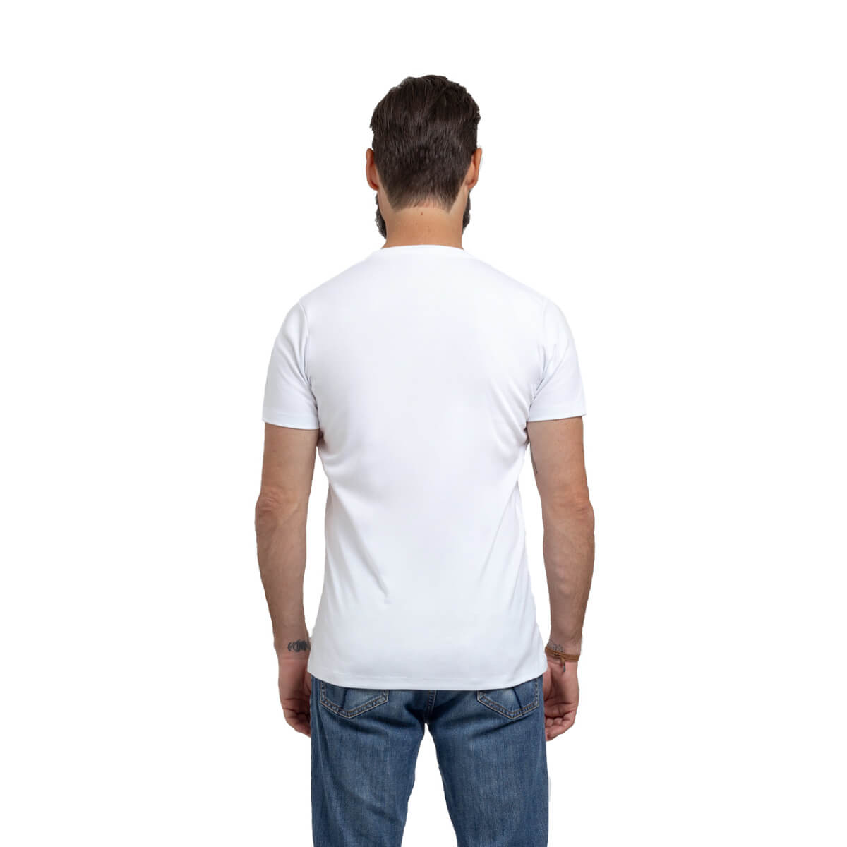 Franela esencial cuello redondo blanco hombre espalda