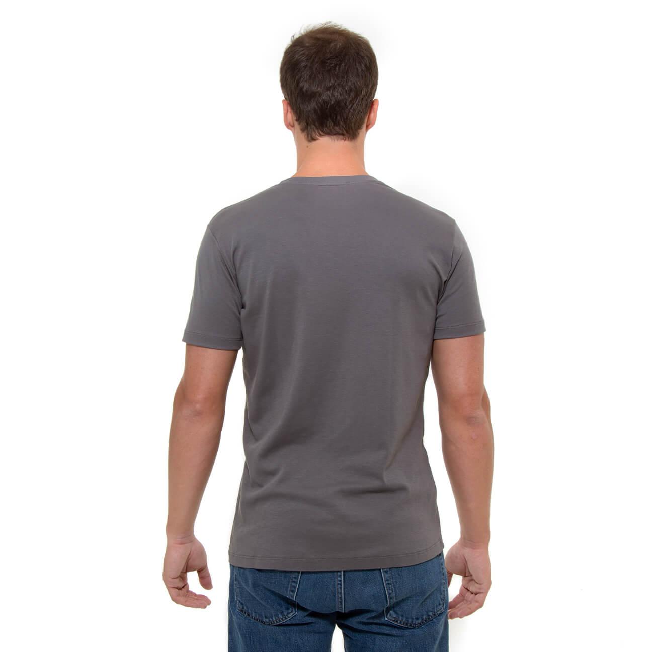 Franela gris esencial para hombre cuello en V Veticales espalda