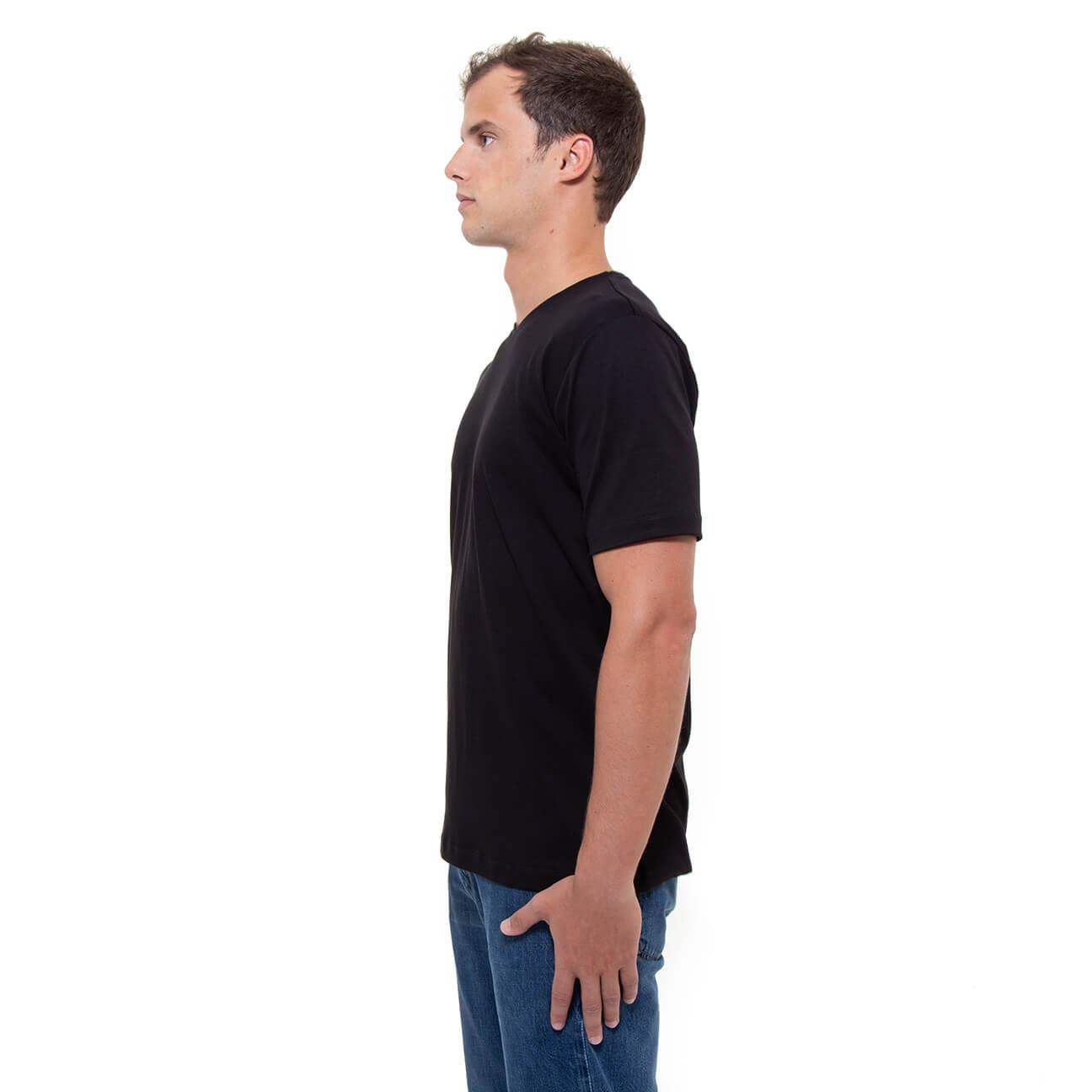 Franela negra esencial para hombre cuello en V Verticales lado