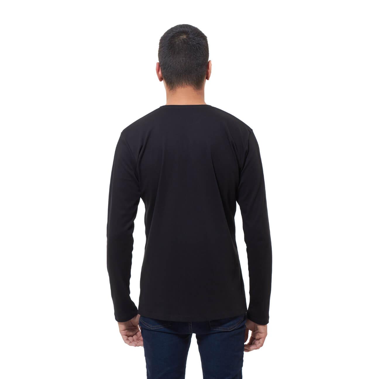 Franela basica caballero manga larga negra espalda