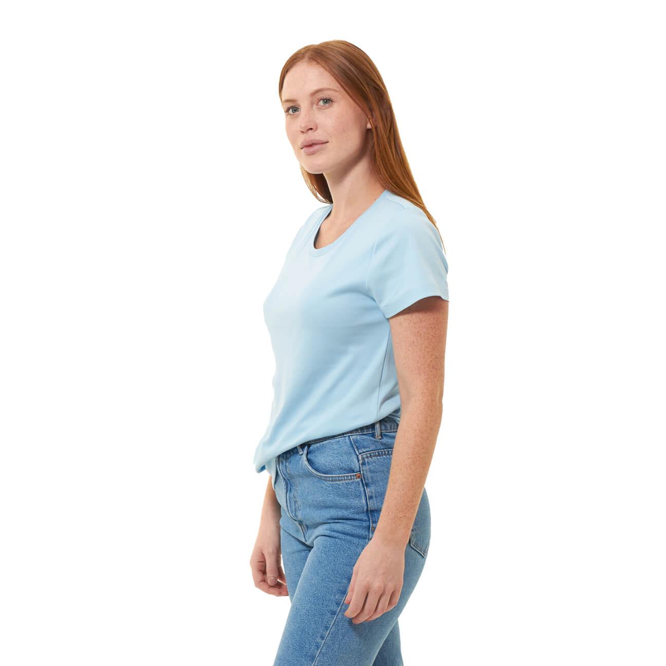 Franela basica dama cuello redondo azul claro lado