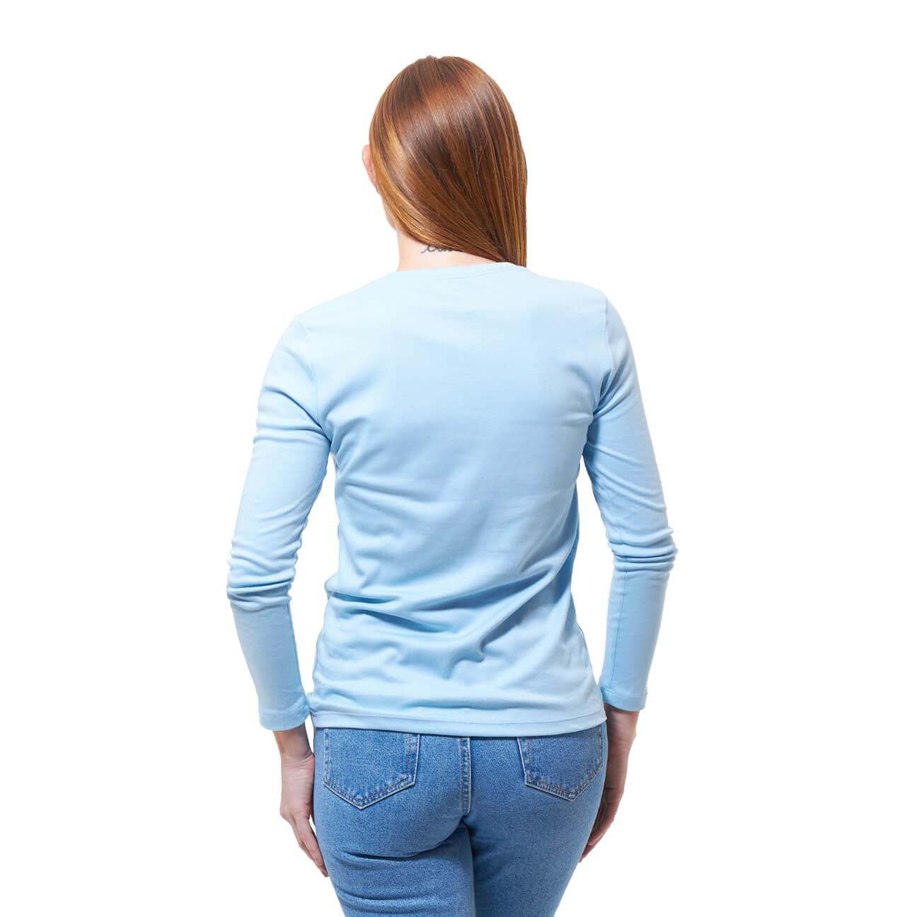 Franela basica dama manga larga azul claro espalda