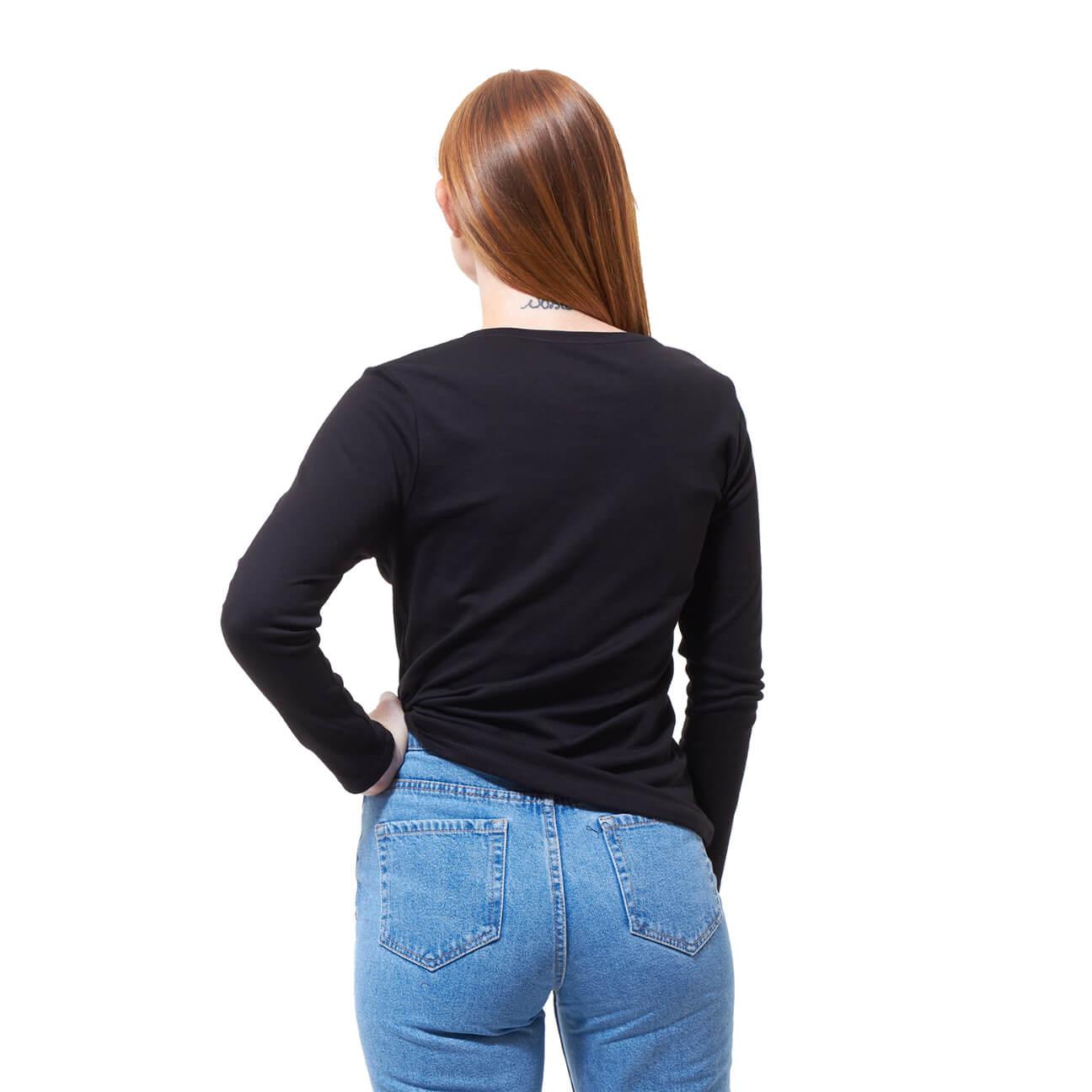 Franela basica dama manga larga negra espalda