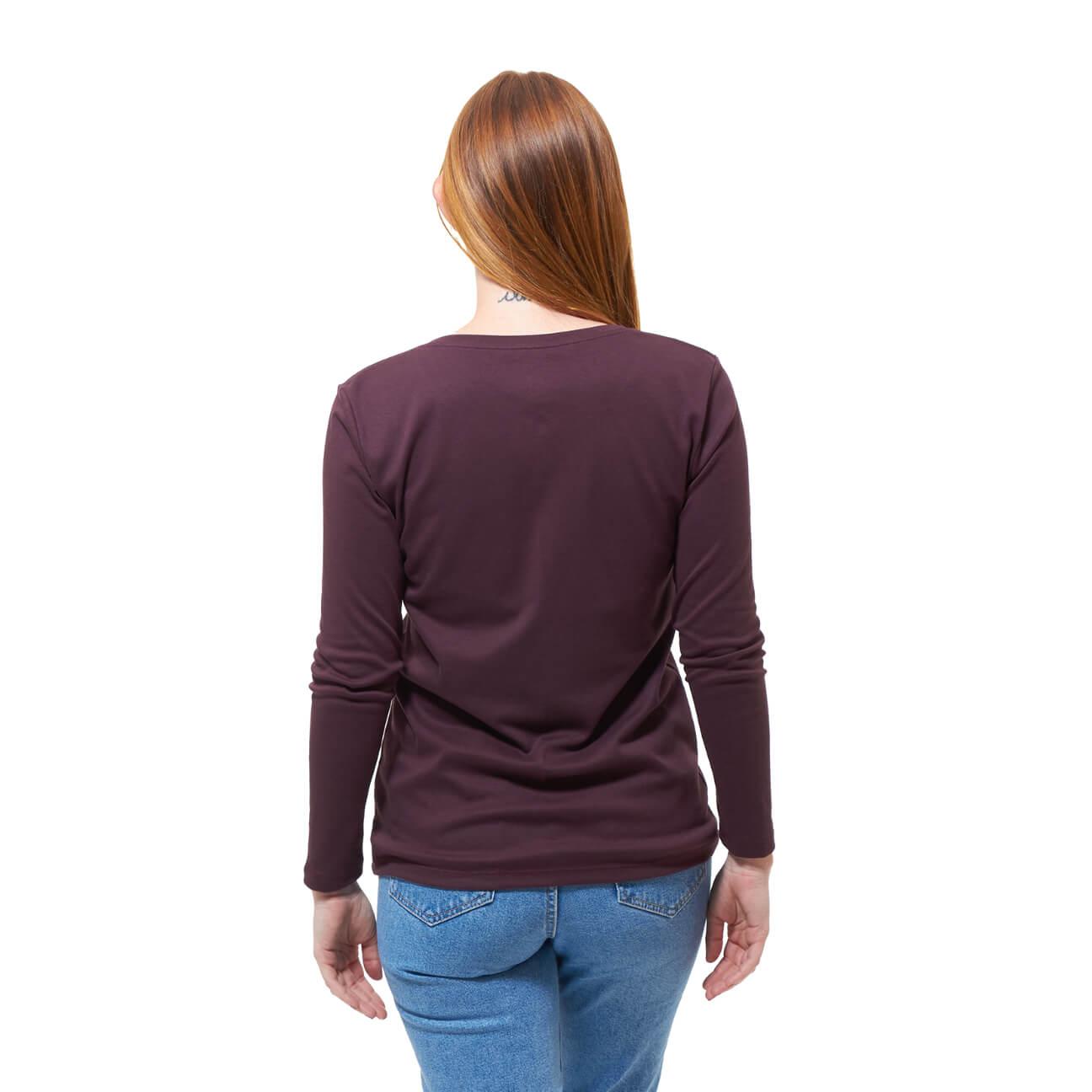 Franela basica dama manga larga vino tinto espalda