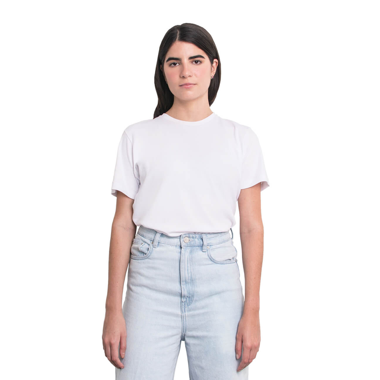 Boyfriend shirt básica blanca verticales frente