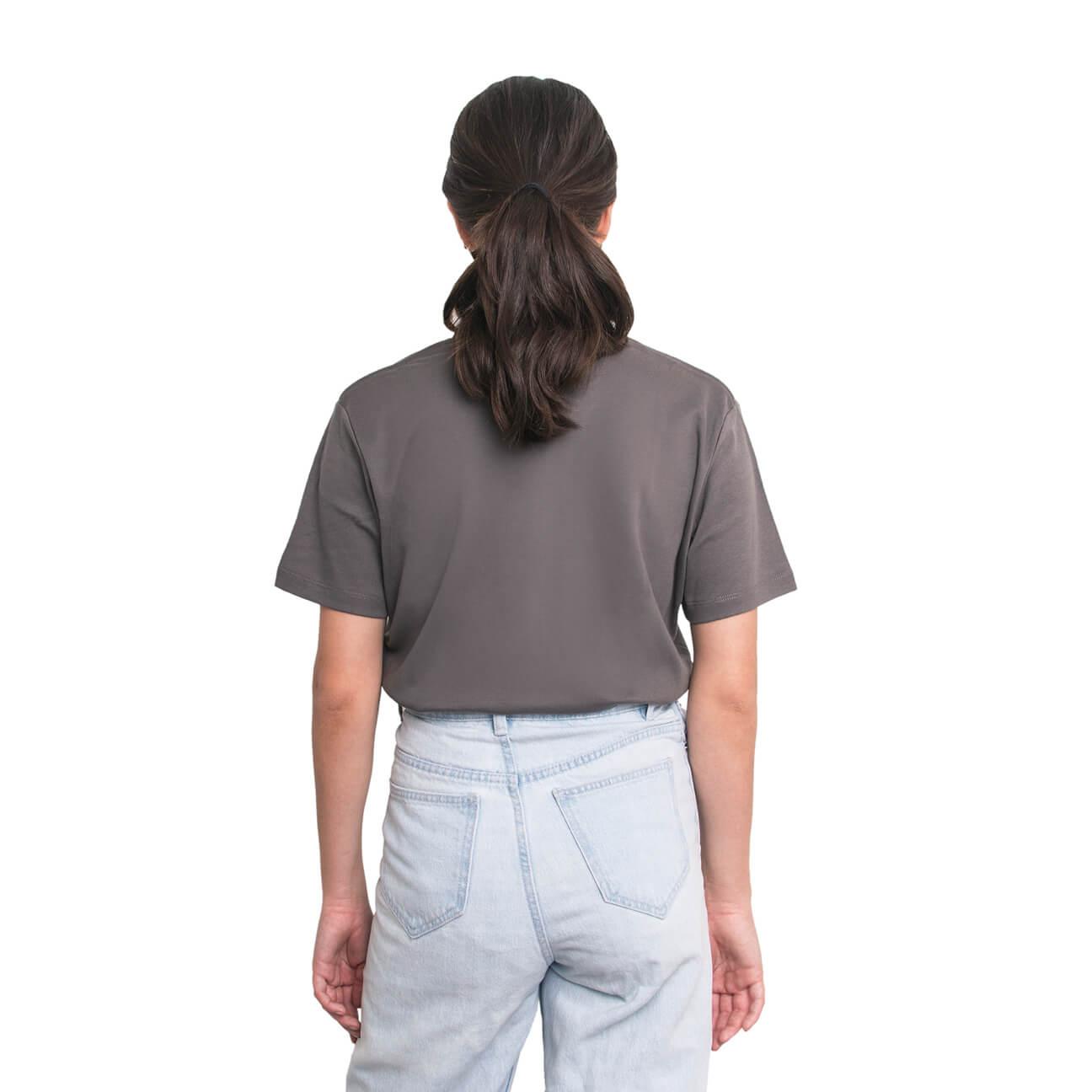 Boyfriend shirt básica gris verticales espalda