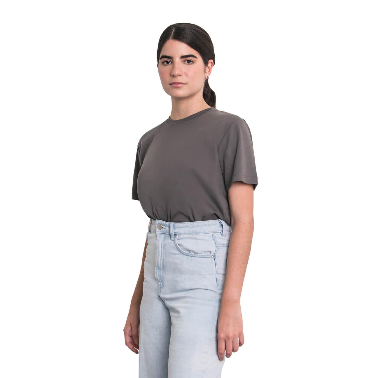 Boyfriend shirt básica gris verticales lado