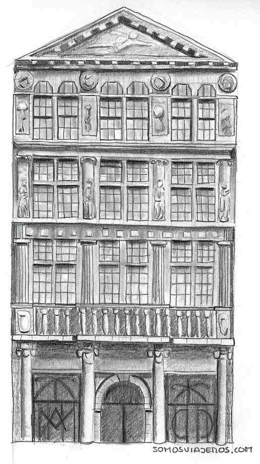 Dibujo Grand Place de Bruselas por Somos Viajeros