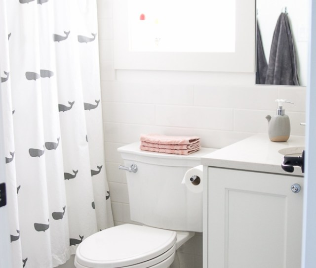 White Clean And Simple Bathroom With Whale Shower Curtain
