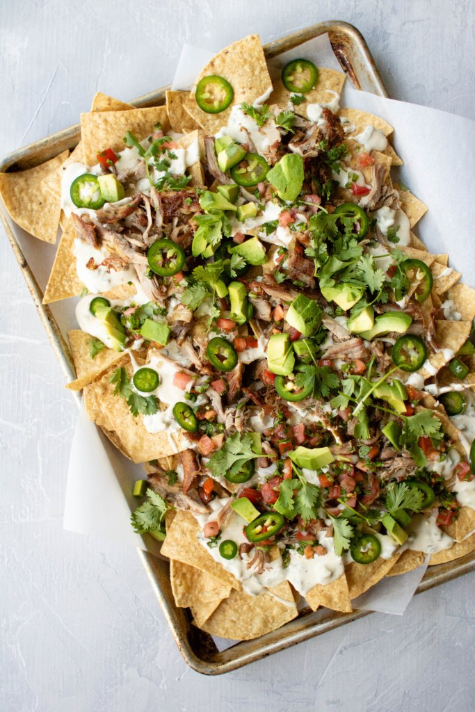 carnitas sheet tray nachos