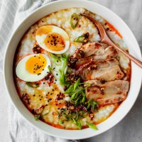 classic congee with pork belly, egg and scallion