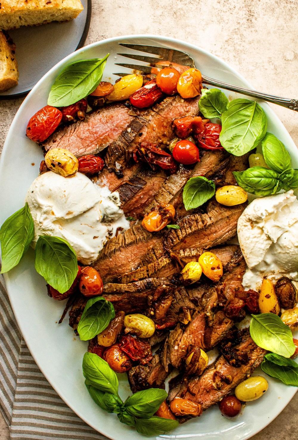 flank steak with burrata