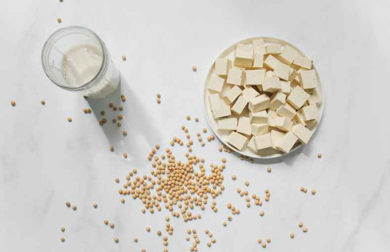 photo of tofu soybeans and soy milk against white background
